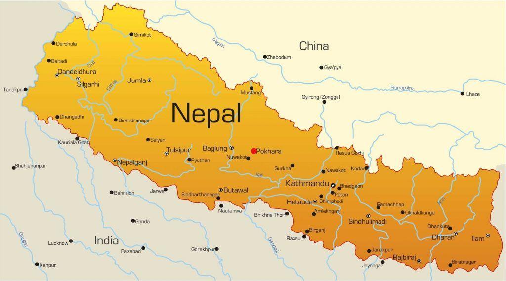 Mapa de Nepal: Pokhara en rojo