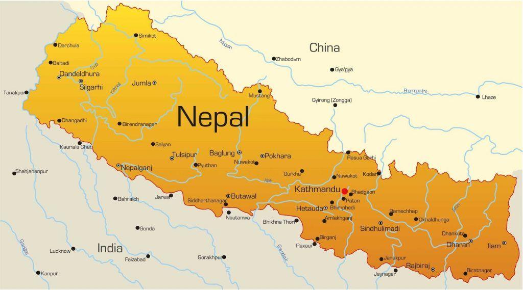 Mapa de Nepal: Katmandú en rojo